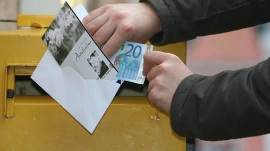 trauerkarte mit geld