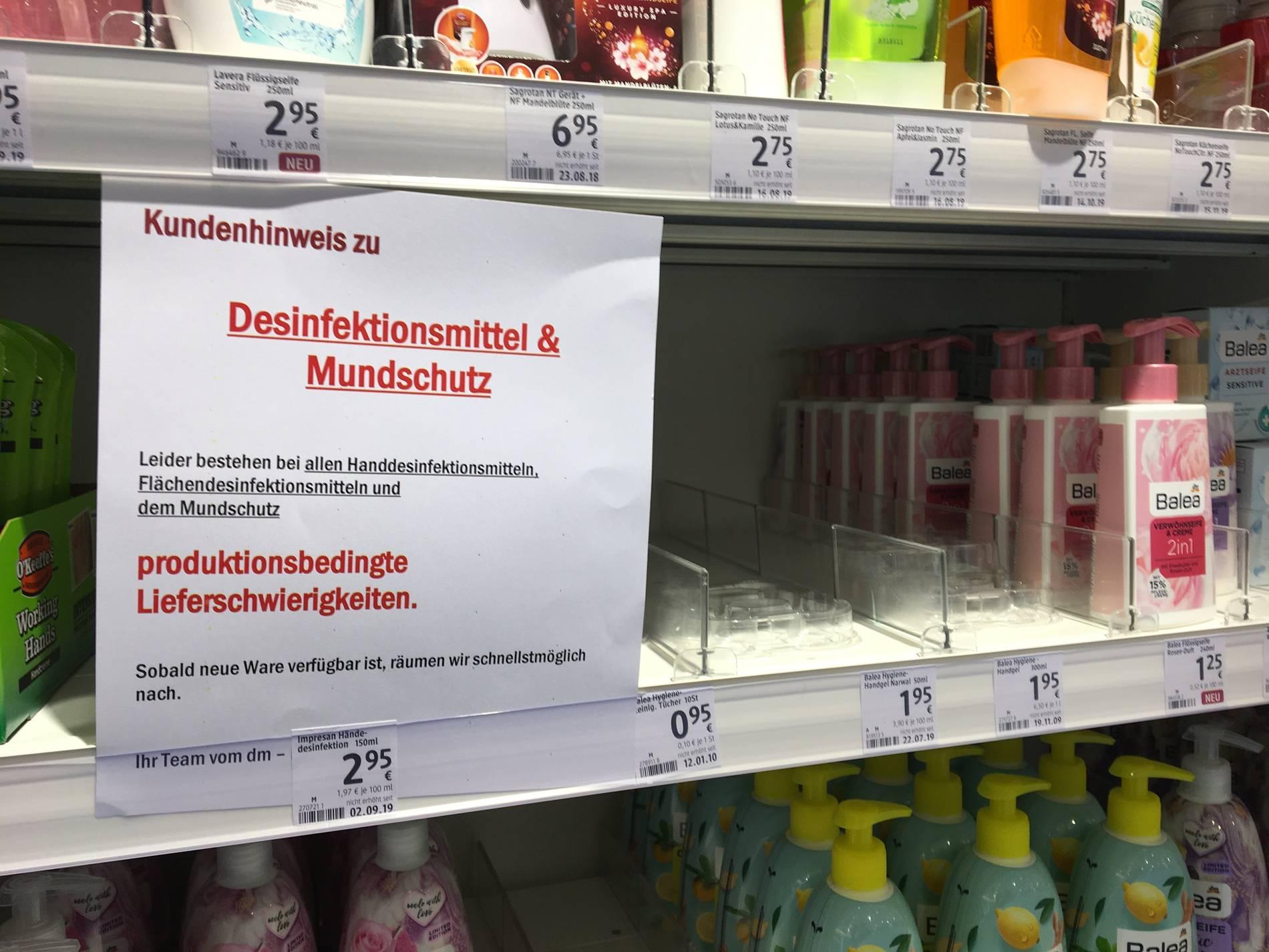 Coronavirus Sorge Vor Covid 19 Munsteraner Kaufen Dm Bestande